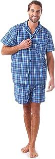 Men's Pajamas Set Cotton Summer Plaid Short Sleeve Knee-Length Sleepwear with Pocket