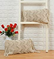 pepme Cotton Macrame Pillow Cushion Cover with Side Tassels Hand-Woven Knitted, Chain Zigzag case for Living Room, Sofa,...