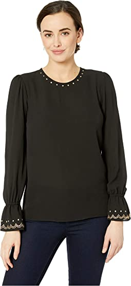 Long Sleeve Stud Neck Top