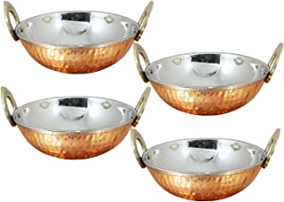 Nexxa Set of 4, Indian Copper Serveware Karahi Vegetable Dinner Bowl with Solid Brass Handle for Indian Food, Diameter- 13 Cm (5.2 Inches) With Metal Cleaning Powder