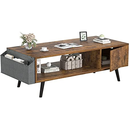 Retro Coffee Table, Mid-Century Coffee Table with Storage Shelf for Living Room, Modern Wood Look Coffee Table with Storage Bag and Cabinet, Easy Assembly, Black Oak