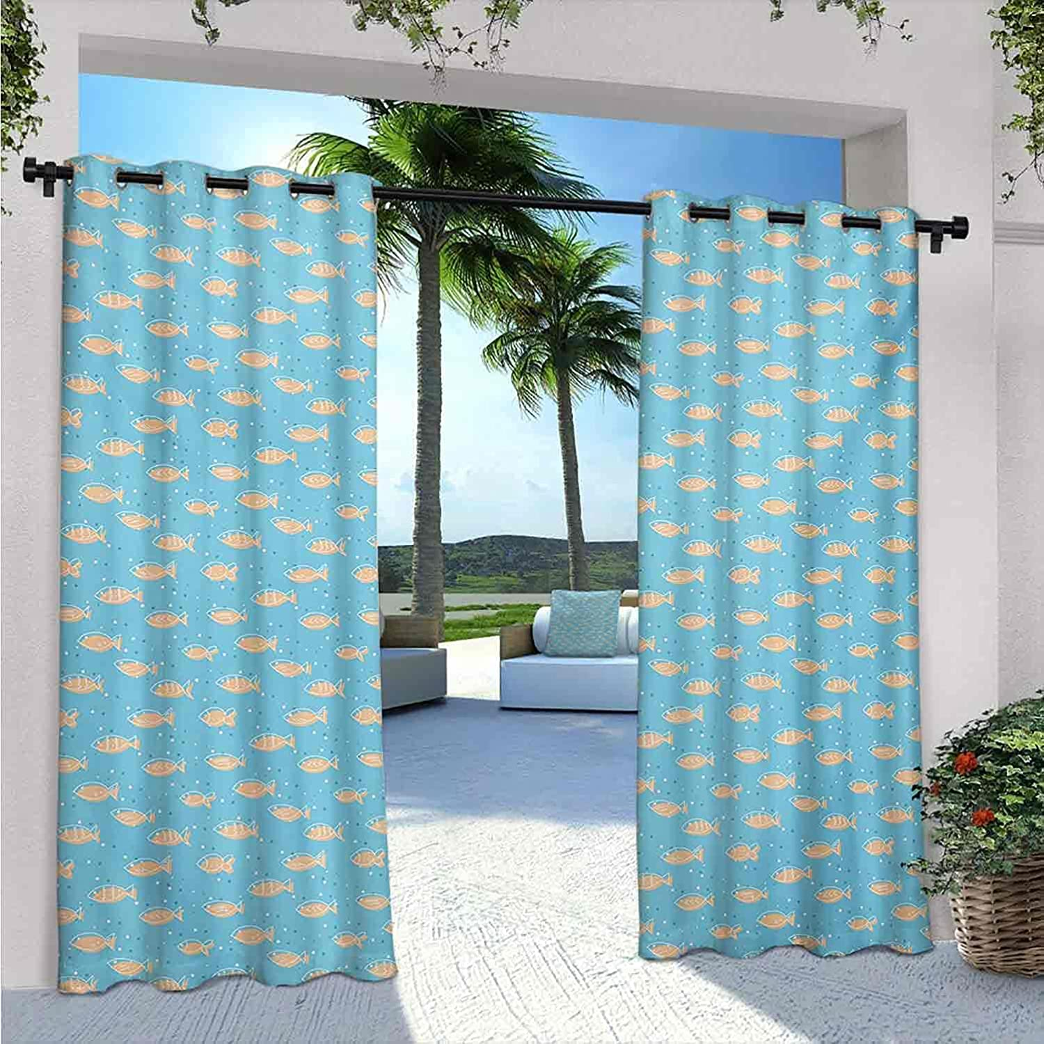 A surprise price is realized Fish Waterproof Indoor Outdoor Indianapolis Mall Curtains for Flock Patio of Sw