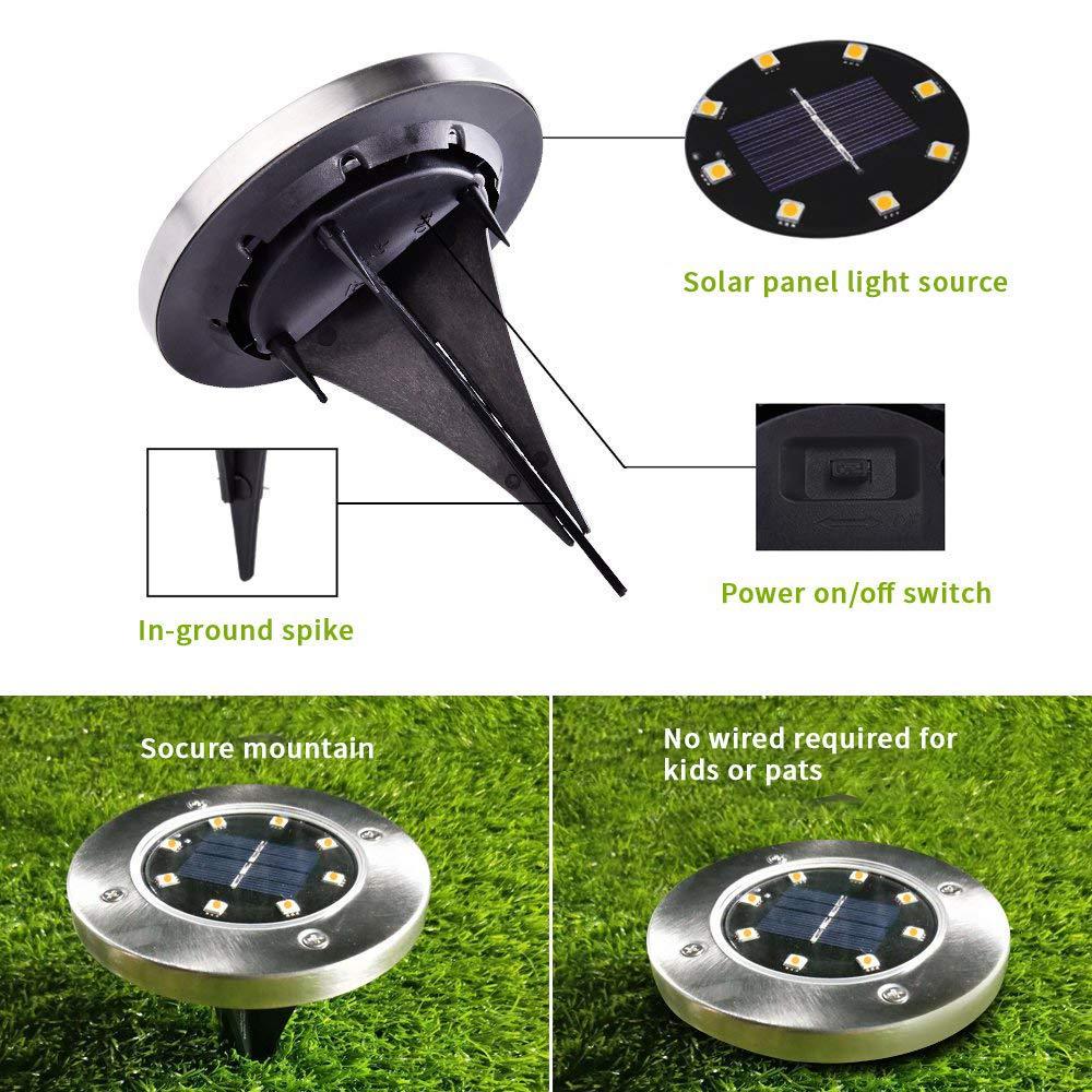 FLOWood Solar Lights for Outdoor Garden, 8 LEDs Solar Floor Lights Outdoor Solar Ground Lights IP65 Waterproof Outdoor LED Solar Path Lights for Lawn Pathway Patio Garden White 8 Pieces