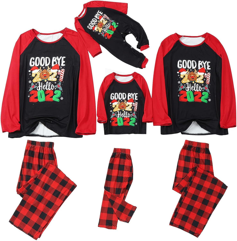 Goldweather Christmas Family Matching Pajamas ' Goodbye 2021, Hello 2022' Letter Print Long Sleeve Xmas Pjs Sleepwear Sets