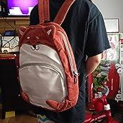 3D Dog//Fox Animal Backpack Corduroy Zipper Hiking Shoulder Bag 11.815.84.3