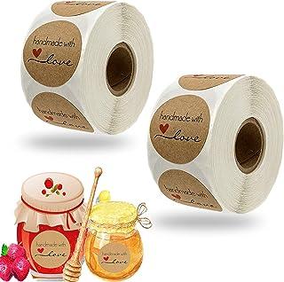 Handmade with Love Stickers, 1000 Pcs Étiquette D'autocollant à la Main Autocollant Rond Autocollant Adhésif, pour DIY Cui...