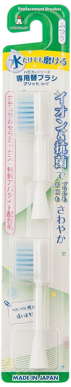ほのか純度デッドロックミニマム 電動付歯ブラシ ハピカ 専用替ブラシ イオン+フラット植毛 毛の硬さ:ふつう BRT-11 2個入