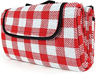 Camco Classic Red & White Checkered Picnic Blanket with Waterproof Backing - Includes Convenient Carry Strap Comfortable and Durable Material Measures 51