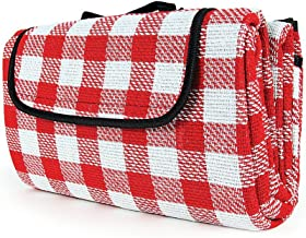 Camco Classic Red & White Checkered Picnic Blanket with Waterproof Backing - Includes Convenient Carry Strap|Comfortable and Durable Material|Measures 51