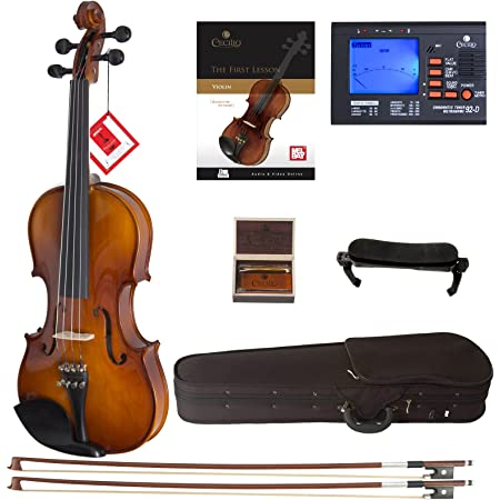 Cecilio Violin For Beginners - Beginner Violins Kit For Student w/Case, Rosin, 2 Bows, Tuner, First Lesson Book - Starter Musical Instruments For Kids & Adults ize 1/2 Color Varnish