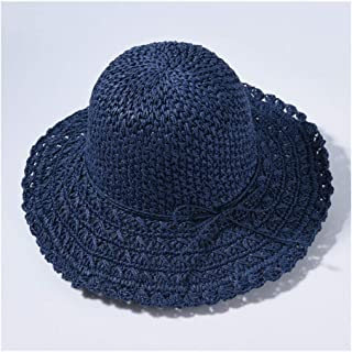 Hat Lady Straw Big Straw hat Visor Female Sunscreen Holiday Travel Beach hat Sun hat` TuanTuan (Color : Navy)