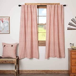 Homespun Red Ticking Panel Curtains, Set of 2, 63