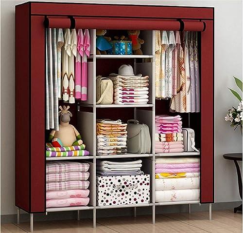 EKRON Multipurpose 6 2 Shelves Portable Storage Organizer Collapsible Closet Easy To Assemble Wine Red 130 X 45 X 175 Cm