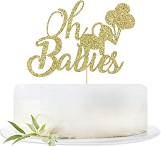 LOVELY BITON Gold Gillter Oh Babies Cake Topper for Twins Baby Shower,Gender Reveal,Baby 6 Months, 1st Birthday Party Deco...