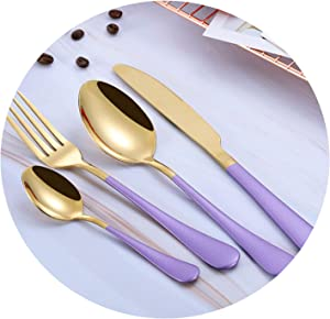 Steel Cutlery Set Gold Cutlery Set Stainless Steel Cutlery Western Dinnerware Set,purple gold