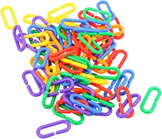 Awakingdemi Bird Hooks Chain,100pcs/lot Plastic C-Clips Hooks Chain C-Links Sugar Glider Rat Parrot Toy Bird Toys Stairs Pet Products for Parrots Parakeets(1.57 X 0.47inch)