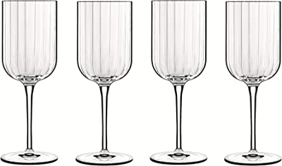 Luigi Bormioli Bach Red Wine 400ml, Durable Wine Glass, Lead Free Crystal Wine Tumbler, Italian aerating Wine Glasses (Colour: Clear), Quantity: 1 Set, 4 Pieces