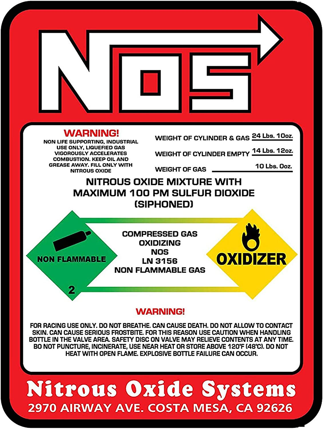 Dracary NOS Replacement 10LB Nitrous Label 2021 model Bottle Sticker Decal Large special price !!
