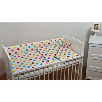 ETS Set completo di 6 pezzi lenzuola per lettino 70x140 neonato bambino pois multicolore