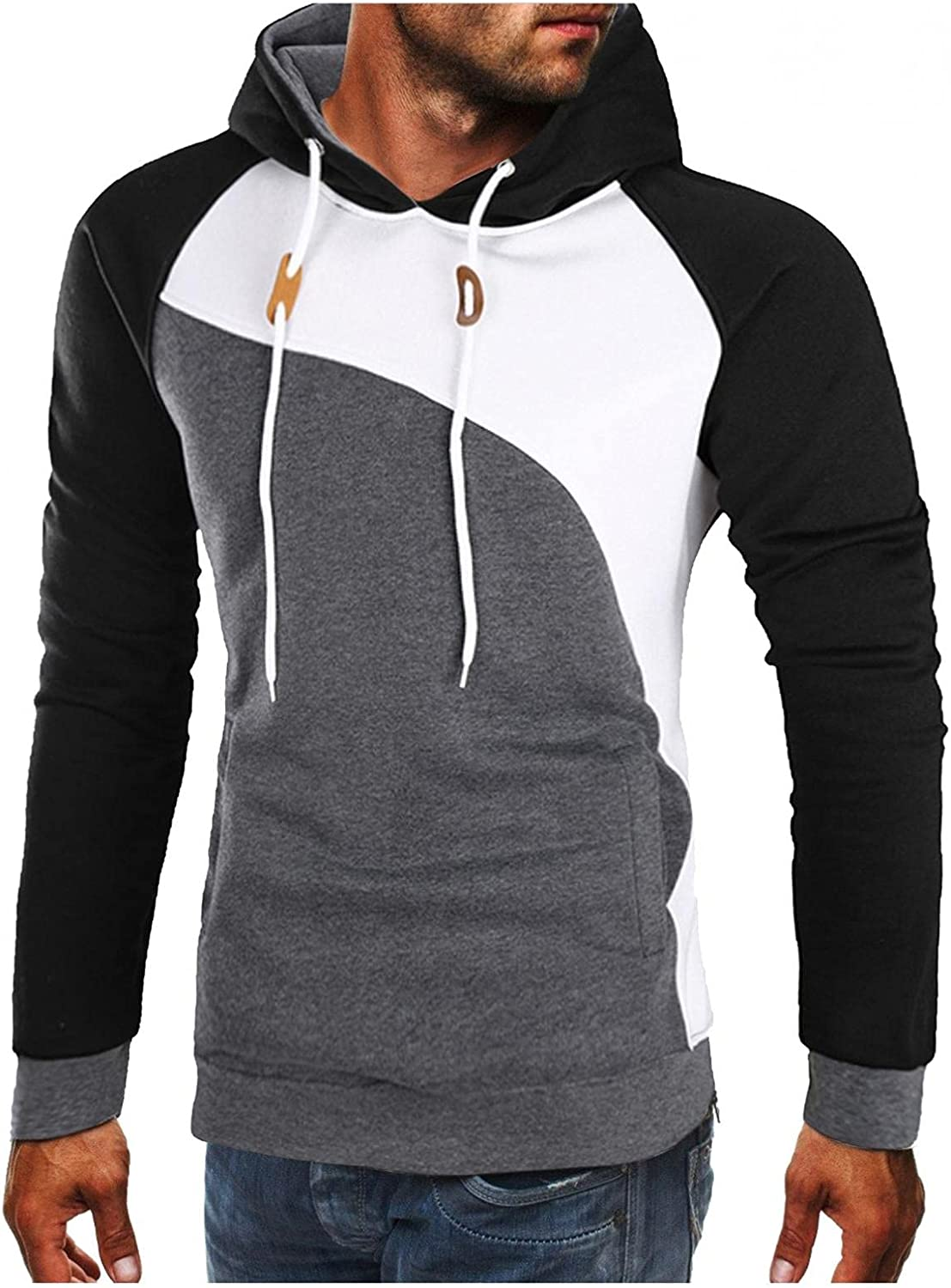 Hoodies for Men Mens Autumn And Winter Color Matching Hooded Slim Sweater Hoodie Crewneck Long Sleeve Fashion Hoodies