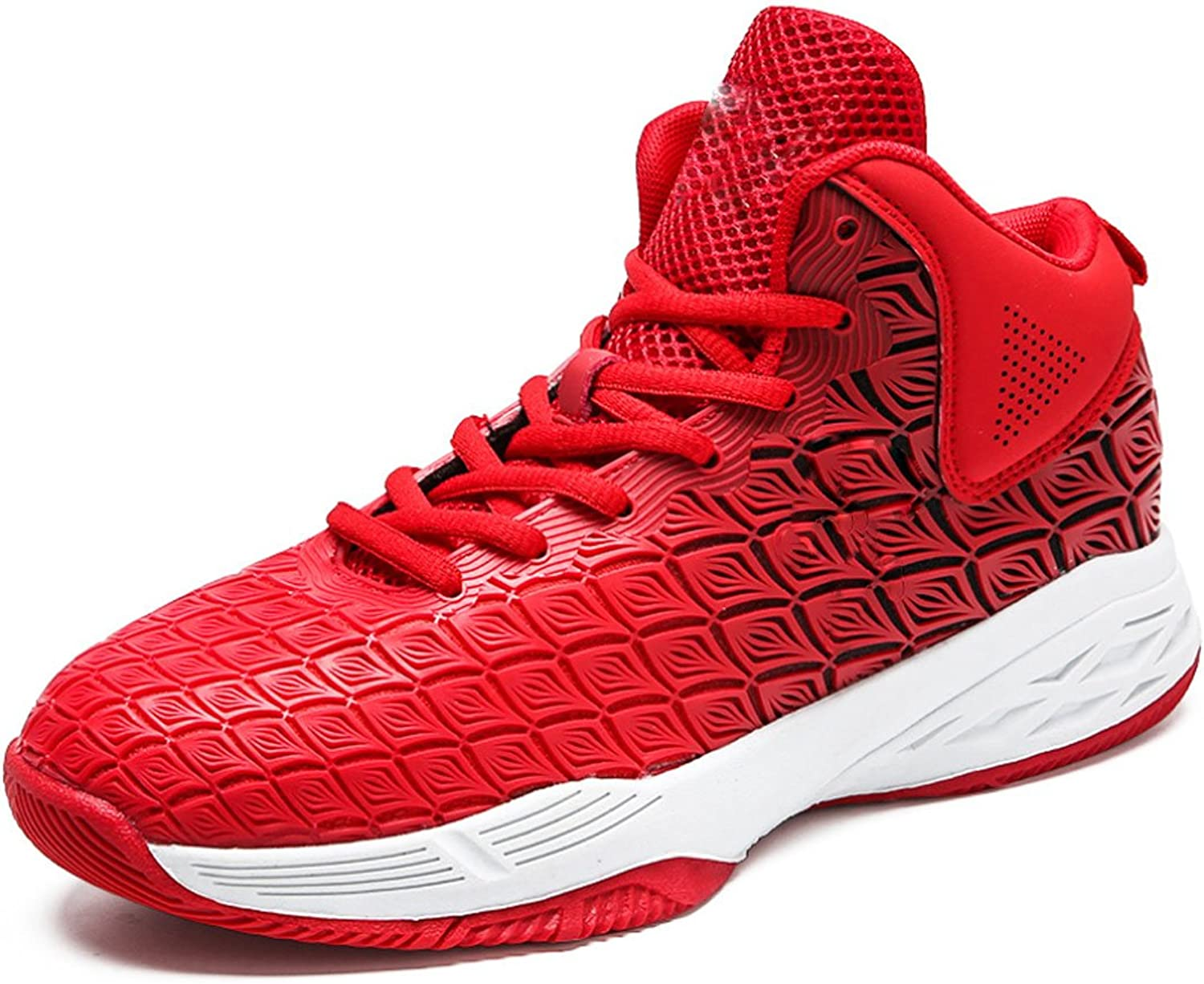 QQBL Men's Red Sports Basketball shoes Mesh Wear-Resistant Anti-Skid Impact-Resistant Quick-Drying Shock Absorption