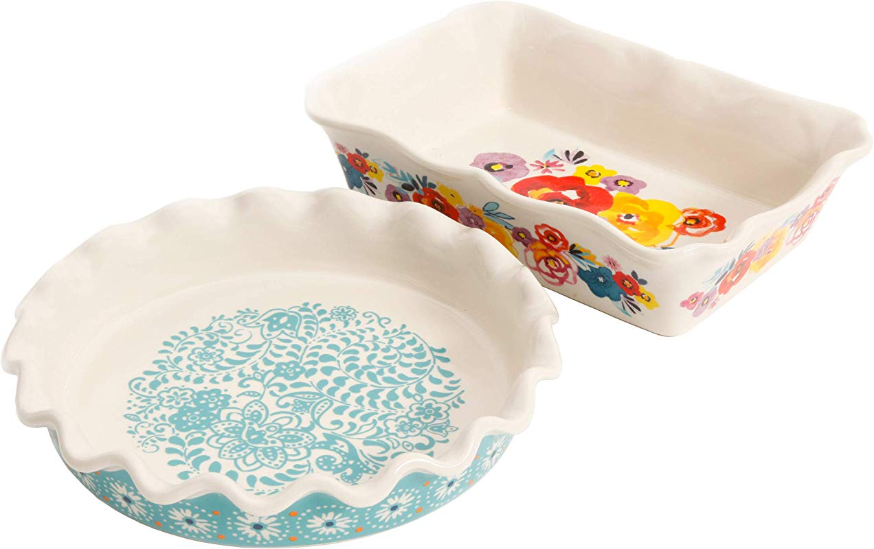 The Pioneer Woman Flea Market Decorated 9 Ruffle Top Pie Plate And 2 3 Quart Ruffle Top Bakeware