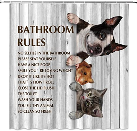 Cute Animals Dog Cat Guinea Pig Funny Quotes Shower Curtain Set Bathroom Decor