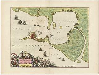 The Blaeu Prints | Cadiz, Spain, Andalucia - Historical Map Print from Antique Atlas by Joan Blaeu - Old Map Shows: Cadiz, San Fernando, El Puerto de Santa Maria
