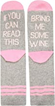 Women's If You Can Read This Funny Saying Beer Wine Coffee Taco Donut Crew Socks