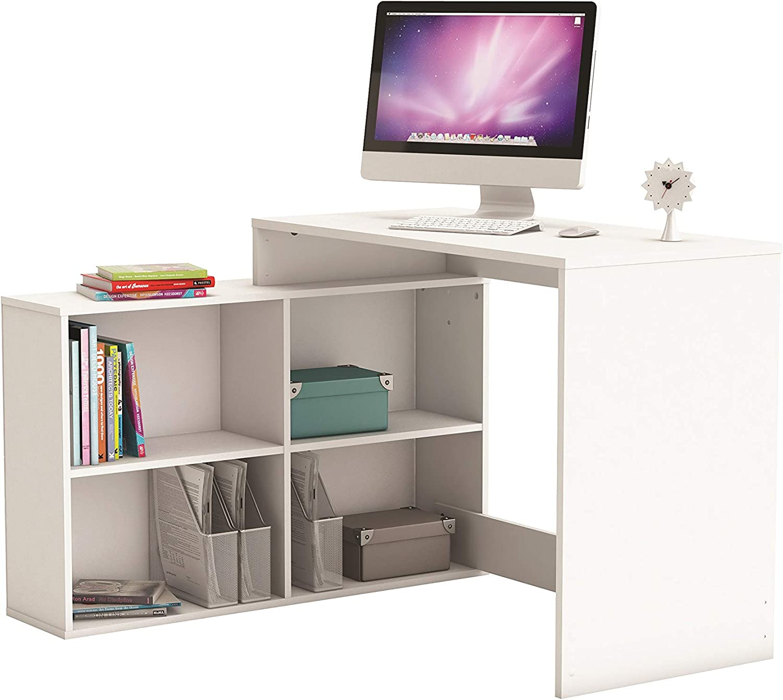 Mesa Escritorio con Estantería Baja Blanca Estudio Despacho Ordenador O Dormitorio Juvenil 2 Montajes