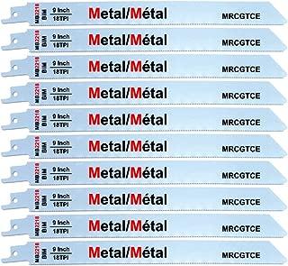 9 Inch Metal Cutting Reciprocating Saw Blades, Bi-Metal 18 TPI Sawzall Blades Metal Cutting - 10 Pack