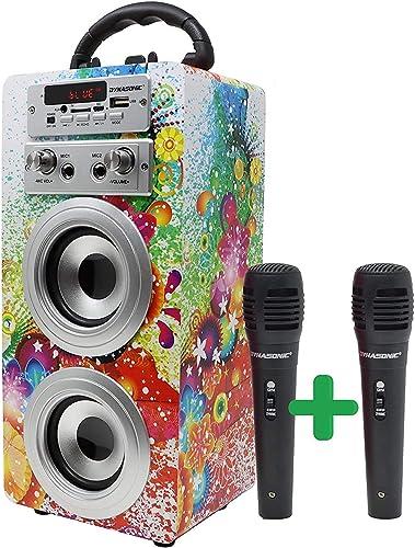 DYNASONIC - Haut-Parleur Bluetooth Portable avec karaoké | Radio FM et Lecteur USB SD (modèle 1, 2 Microphones), 025-12