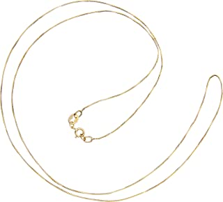 14K Solid Yellow Gold Necklace   Box Link Chain   22 Inch Length   .60mm Thick   With Gift Box