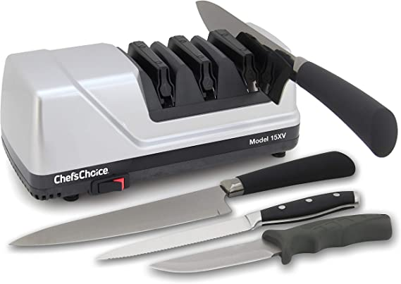 Chef'sChoice 15 Trizor XV EdgeSelect Professional Electric Knife Sharpener for Straight and Serrated Knives Diamond Abrasives Patented Sharpening System Made in USA