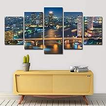 upnanren 50CM has Frame 5 Board Modern Home Decoration Painting Bangkok Oil Painting Canvas Printing Room