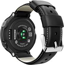 MoKo Band Compatible with Garmin Forerunner 235/235 Lite/220/230/620/630/735XT, Premium Genuine Leather Replacement Strap Fit Garmin Forerunner 235/235 Lite/220/230/620/630/735XT Smart Watch - Black