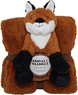 Silver One Sherpa Plush Stuffed Animal and Throw Blanket 2 Peice Gift Set for Kids/Children   50