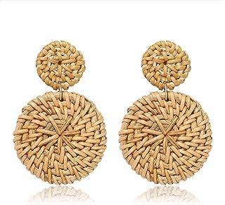BSJELL Rattan Hoop Earrings Woven Handmade Straw Circle Drop Earrings Hammered Disc Stud Wicker Bohemian Lightweight Earrings for Women