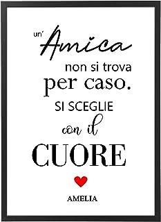Quadro Amica Personalizzato con Cornice - Regalo Amicizia Matrimonio Anniversario Marito e Moglie Mamma- Quadro varie dime...