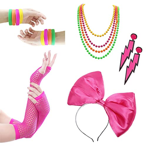 291152809942e 80s Outfit - Womens 80s Fancy Outfit Costumes Accessories Set Leg Warmers  Fishnet Gloves Neon Earrings