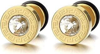 8-10MM Modelo Dominante Griego Oro Pendientes de Hombre, Aretes, Acero Inoxidable, con 4MM Circonita, 2 piezas
