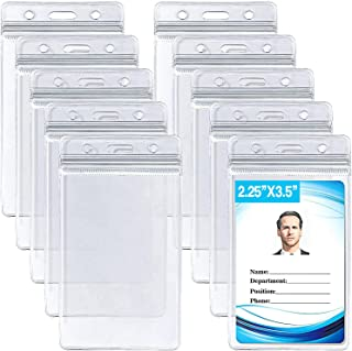 ID Card Name Tag Badge Holder, Waterproof Sealable Clear Plastic Vertical ID Card Holder for Work ID, Key Card, Driver's L...