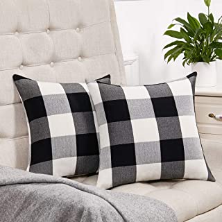 Best Set of 2 Fall Black and White Buffalo Check Plaid Throw Pillow Covers Farmhouse Decorative Square Pillow Covers 18x18 Inches for Farmhouse Home Decor Review