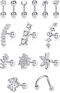 16G Stainless Steel Cartilage Tragus Earrings Helix Barbell Cartilage Stud for Women Girls (Color Set 1, 14 Pieces)