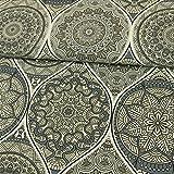 Stoffe Werning Dekostoff Mandalas grau Canvasstoffe