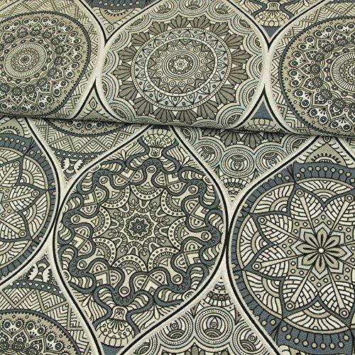 Stoffe Werning Dekostoff Mandalas grau Canvasstoffe Dekorationen Ornamente - Preis Gilt für 0,5 Meter
