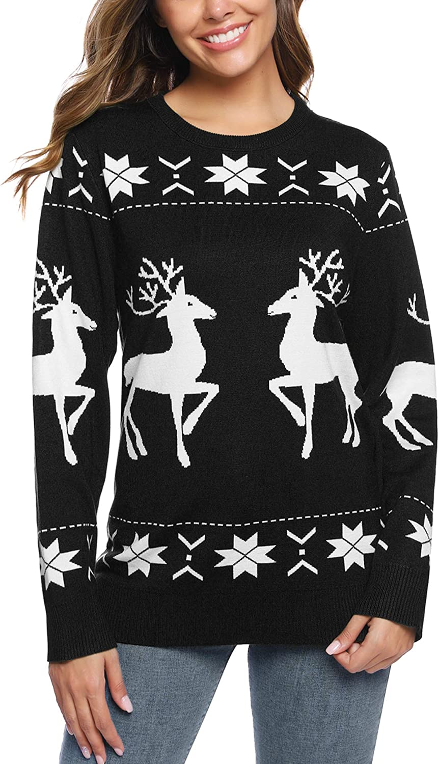iClosam Women's Ugly Christmas Sweater Reindeer Snowflakes Sweaters Pullover Jumper