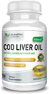 COD Liver Oil | 100 Softgels | Natural Source of Omega 3 Fatty Acids | 100% Organic Capsules | Triple Strength | Best Immune Health, Healthy Bones & Muscles Dietary Supplement | (100 Softgels)