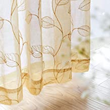 Sheer Curtains Leaf Embroidered Summer Window Drapes for Living Room Bedroom Grommet Semi Sheer Curtain 1 Pair 84 Inch Gold