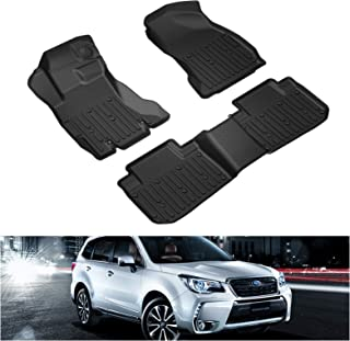KIWI MASTER Floor Mats Compatible for 2014-2018 Subaru Forester All Weather Protector Mat Liners Front Rear 2 Row Seat TPE Slush Liner Black